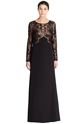 Tadashi Shoji Embellished Mesh Bodice Long Sleeve Evening Gown Dress
