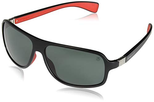 TAG HEUER 66 9304 102 661303 Polarized Oval Sunglasses, Black & Red, 66 mm