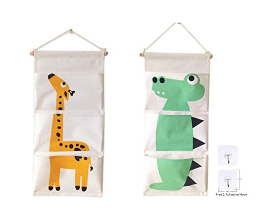 Over The Door Closet Organizer, 2 Packs Wall Hanging Storage Bags with 3 Pockets for Bedroom & Bathroom (Giraffe&Crocodile)