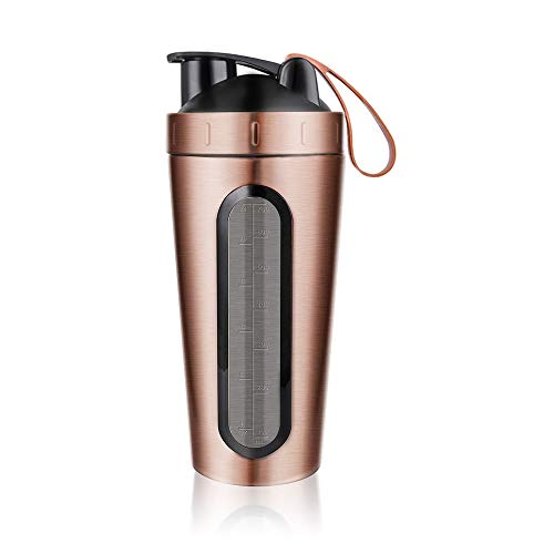 Stainless Steel Protein Shaker Bottle,28oz BPA Free Leak Proof Mixing Cup with Shaking Ball,Sports Water Bottle Tumbler for Hot Ice Drinks,Workout Supplements Protein Shakes Mixes (Rose Gold)