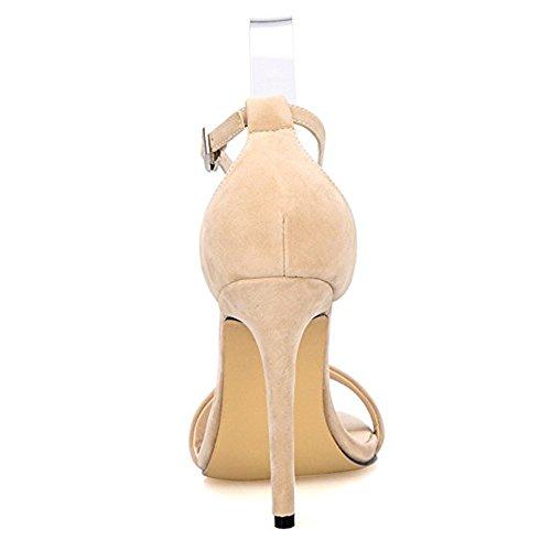 Damenschuhe Open Toe Mehrfarbig Sandalen High-Heels Stiletto Riemchen Samt Nude