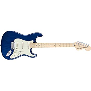 Fender Deluxe Stratocaster Electric Guitar, Maple Fingerboard, Sapphire  Blue Transparent