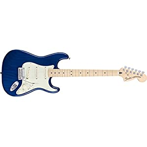 Fender 0147102327 Deluxe Stratocaster Maple Fingerboard Electric Guitar – Sapphire Blue Transparent