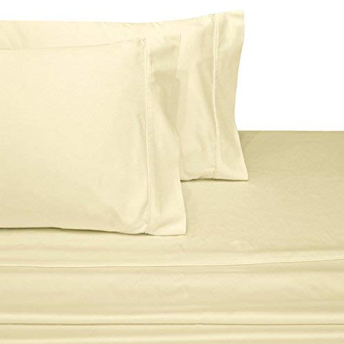 OnlineBestDeal's Split Top King (Adjustable, Flex Top King Size) 100% Egyptian Cotton, Solid Ivory, 800 Thread Count, Sateen Weave, 15 inch Deep Pocket Bed Sheet Set