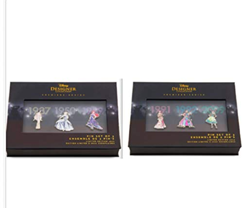 Disney Princess Pin Set Designer Collection Set One AND Set Two Limited Edition ()