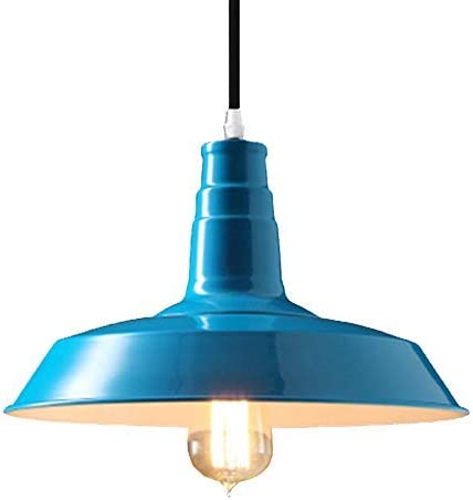 BAYCHEER HL371766 Industrial Retro Style Wrought Iron Large Pendant Light Lamp Modern Chandelier 1 Light for Barn Warehouse Restaurant,Blue