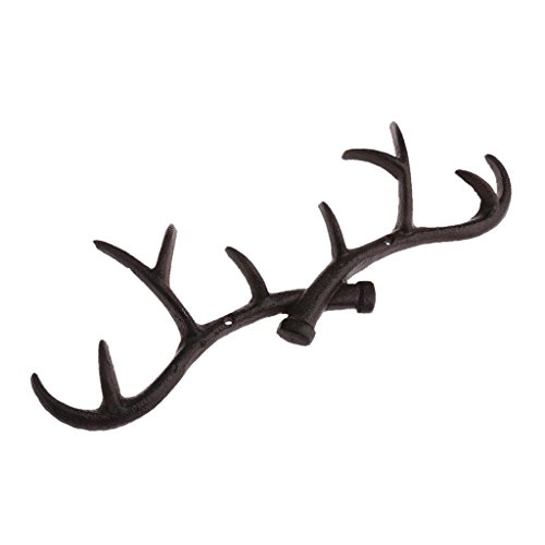 MonkeyJack Heavy Duty Metal Deer Antler Hook Rack Home Decorative Wall Hooks Hangers Hat Coat Bag Key Holder - (Deer Antlers Rack)