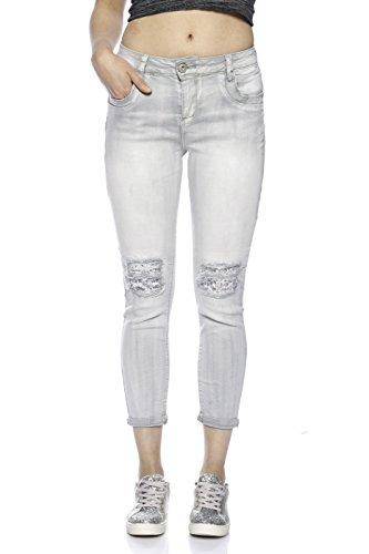 9180D Mozzaar Damen Jeanshose Grau Destroyed Pailletten jede Hose ein Unikat