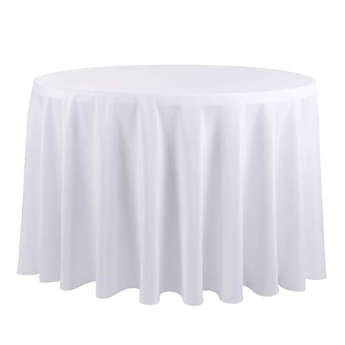 (E-TEX 120-Inch Round Tablecloth, 100% Polyester Washable Table Cloth for Circular Table,)