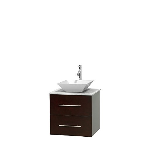 UPC 799559218133, Wyndham Collection Centra 24 inch Single Bathroom Vanity in Espresso, White Carrera Marble Countertop, Pyra White Porcelain Sink, and No Mirror