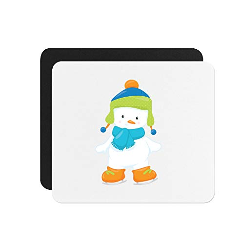 (Skating Snowman Stands Neoprene Mouse Pad 9.25