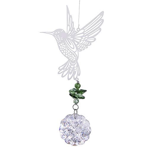 (H&D Glass Crystal Flower Prism Rainbow Maker Hummingbird Hanging Window Sun Catcher for)