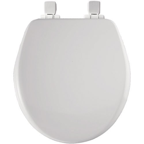 Bemis 9170PLSL 000 Round Closed Front High Density Molded Wood Toilet Seat with Plastic Whisper Close Hinges, White