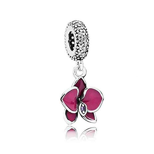 Romántico Amor Orchid Charm Fuschia Enamel&Transparent Cz &925 Sterling Silver Flower Pendant Dangle fit Panora Bracelets