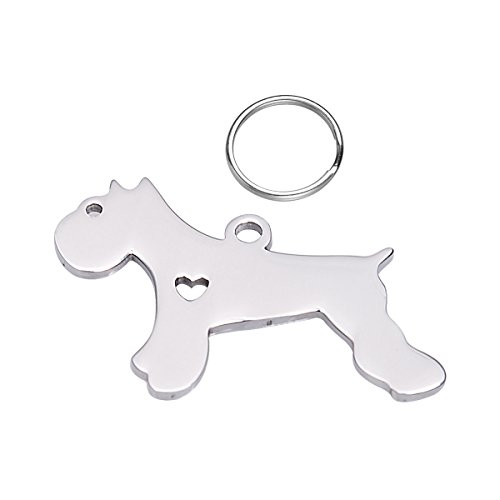 1PC Silver Tone Stainless Steel Schnauzer Silhouette Dog Charm Pendant Pet Memorial Tag