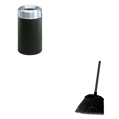 KITRCP637400BLARCPAOT30SAGRPL - Value Kit - Rubbermaid Crowne Collection Open Top Receptacle, Round, Steel, 30 Gal, Aluminum/green (RCPAOT30SAGRPL) and Rubbermaid-Black Brute Angled Lobby Broom (RCP637400BLA) by Rubbermaid