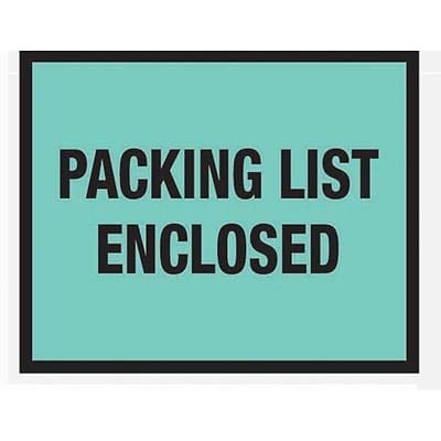 Packing List Envelopes, 7 x 5-1/2, Green Full Face Packing List Enclosed - 1000/Carton (3 Cartons)