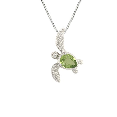 Sterling Silver 925 Peridot Birthstone Turtle Honu Pendant with 18