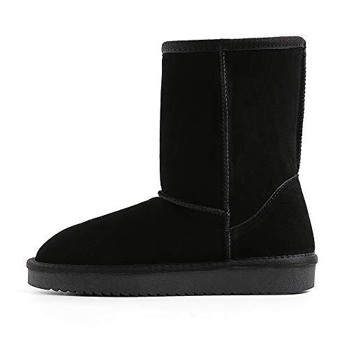 noir Thirty-seven AGECC Nouvelles Chaussures à Fond Plat Gommage d'hiver Bottes De Neige en Velours