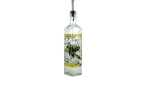 Aceitera de cristal con boquilla anti-goteo - Artículo decorado con aceitunas - Capacidad: 1/2 Litro.: Amazon.es: Hogar