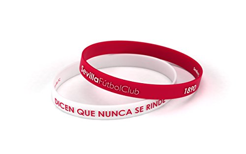 fan products of Sevilla Fútbol Club Bracelet Embossed White and Red Standard for Men | Sevillista Silicone Wristband | Support Sevilla FC with an official product | SFC