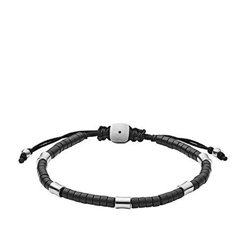 (Fossil Men's Black Agate Corded Bracelet, Black, One Size)