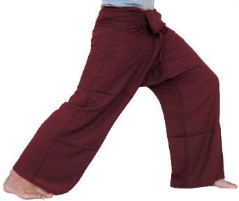 ClickThai.!!. Thai Fisherman Pants Cotton 100% Traditional Tailoring Style Yoga Pants , Relax Pants , Clothes Thai Summer (Red Maroon)