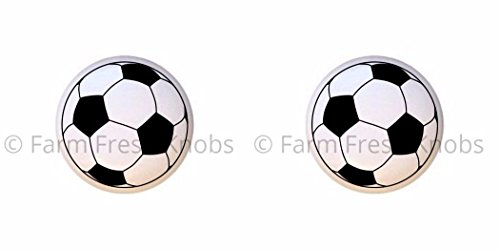 SET OF 2 KNOBS - Soccer Ball II - Sports and Recreation - DECORATIVE Glossy CERAMIC Cupboard Cabinet PULLS Dresser Drawer KNOBS