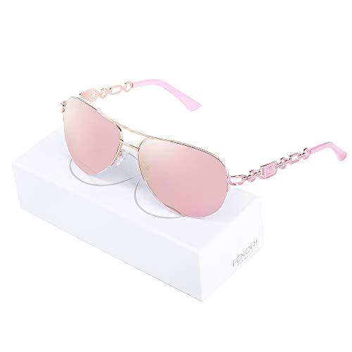 Fenchi Sunglasses For Women Driving Aviator Stereoscop Classic Vintage Eyewear Sunglasses Women 0257 (lens:pink revo/frame:rose gold/temple:pink)