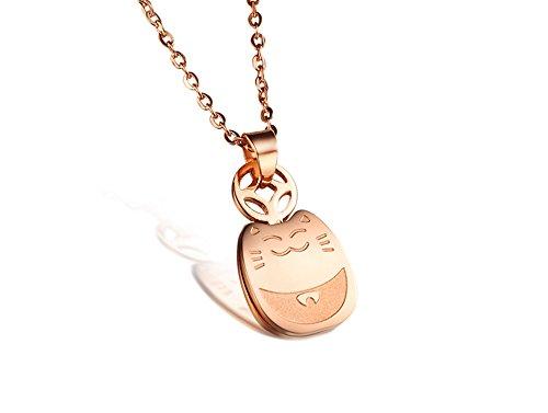 Titanium Series Maneki-neko Fortune Cats Lucky cat Rose Gold Plated Pendant Necklace Korean Love ()