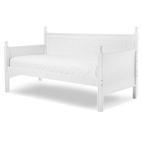 Leggett & Platt Casey Complete Wood Daybed with Ball Finials, White Finish, Twin