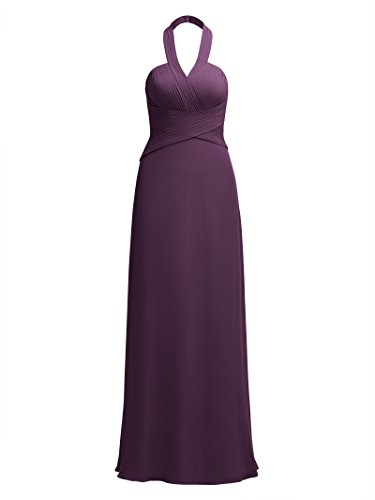 (Alicepub Halter Bridesmaid Maxi Dresses for Women Long Formal Party Prom Dress Evening Gowns Plus Size, Grape, Custom Size)