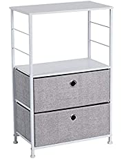 2 Drawers Nightstand with Shelves - LINKLIFE Fabric Closet Storage, Metal Frame, Wooden Top Dresser for Bedroom, Living Room, Hallway, Entryway, Closets & Nursery (Light Grey)