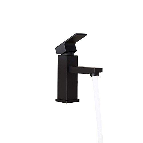 - AUXO Modern Minimalist Brass Single Hole Sink Mounting 90 Degree Single Handle Bathroom Vanity Faucet Basin Faucet in Solid Black Finish