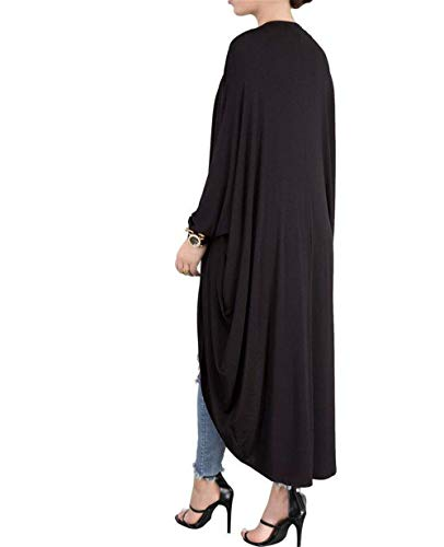 Moda Giacca Casuale Cappotto Eleganti Giaccone Donna Nero Forti A Outerwear Pipistrello Irregolare Colori Lunga Maglia Autunno Grazioso Solidi Sciolto Primaverile Manica Taglie Cardigan wSIz8f