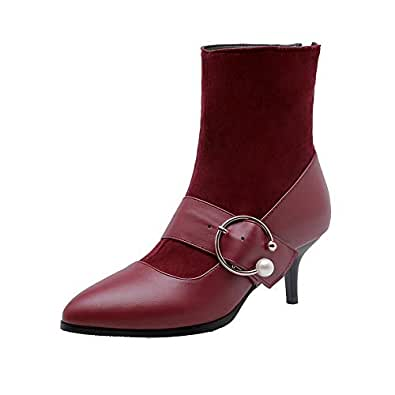 BalaMasa Womens ABS14174 Light-Weight Penny Loafer Solid Claret Pu Boots - 6.5 UK (Lable:41)