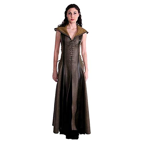 mucloth Women's Archer Cosplay Costume Game of Thrones Uniform Vintage V-Neck Clothing Leather Hooded Dress (M) -