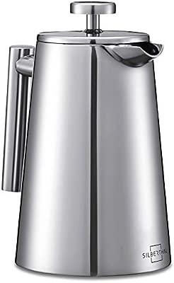 SILBERTHAL Cafetera émbolo Acero Inoxidable | Tetera embolo | Prensa Francesa 0,7 litros | Cafetera de pistón | Coffee French Press | Tetera Cafetera ...