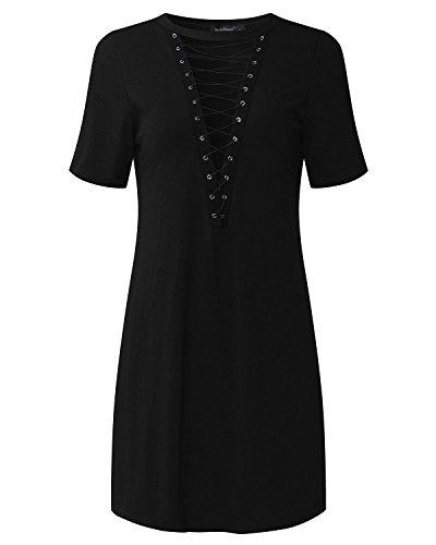 StyleDome Mujer Vestido Corto Elegante Fiesta Mangas Cortas Cóctel Oficina Noche Cuello Pico Blusa Negra