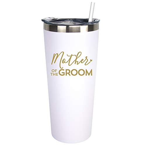 Mother Of The Groom - 22 oz White Stainless Steel Insulated Wine Tumbler with Lid and Straw (White, Metallic Gold)