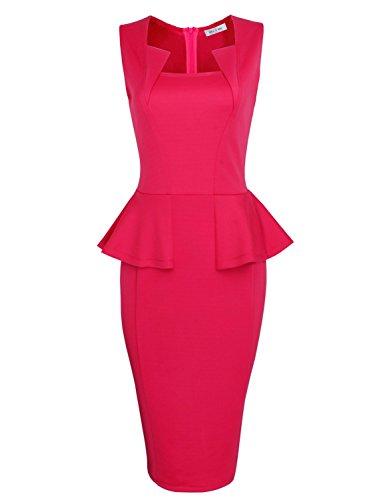Tom's Ware Women Classy Neck Detail Sleeveless Midi Dress TWLC6150-PINK-US - Pink Tom
