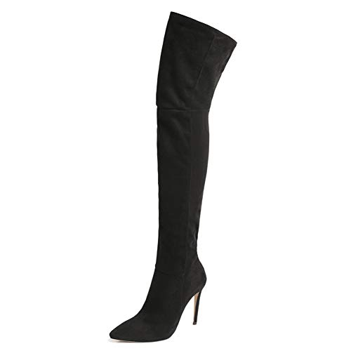 (Shoe'N Tale Women's Thigh High Over The Knee Stiletto Heel Pointy Toe Stretch Boots (8.5 M US, Black))