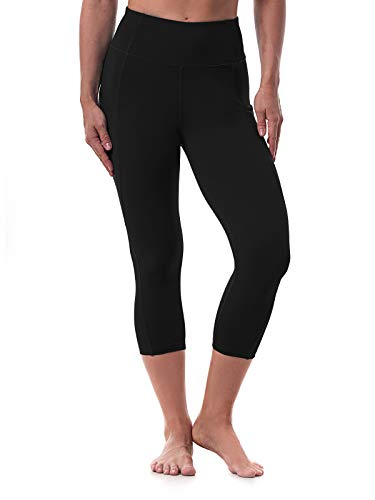 Women's Yoga Pants High Waisted Crop Workout Running Leggings with Side Pocketed Tummy Control Yoga Capris