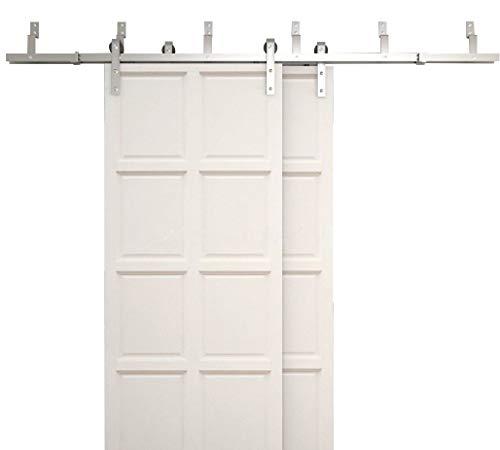 WINSOON 4FT-18FT Modern Sliding Bypass Barn Door Hardware 304 Stainless Steel Double Doors Kit Cabinet Closet System Silver (11FT Bypass Hardware Kit)