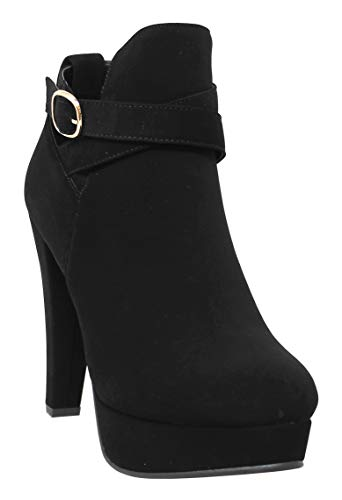 - MVE Shoes Women's High Heel Ankle Booties - Strappy Platform Stylish Booties, ATTICUS-10 Black 6.5