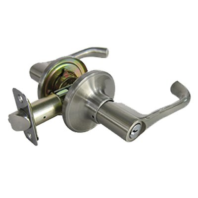 Tru-Guard Taiwan Fu Hsing Industrial LYPX200B KA2 Milano Entry Lever Lockset, Satin Nickel - Quantity 2