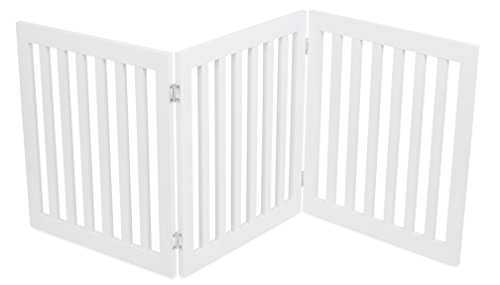 Internet's Best Traditional Pet Gate | 3 Panel | 24 Inch Step Over Fence | Free Standing Folding Z Shape Indoor Doorway Hall Stairs Dog Puppy Gate | White | Wooden