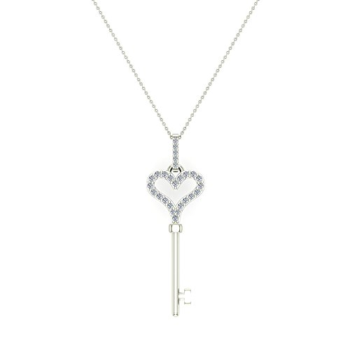 - Glitz Design 14K Gold Key to Your Heart Diamond Necklace ¼ ctw (G,I1) (20.00, White-Gold)