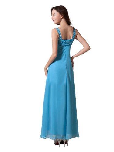 2014 Scoopneck Blau Knielang Schlicht Brautjungfrau Abendkleider ...