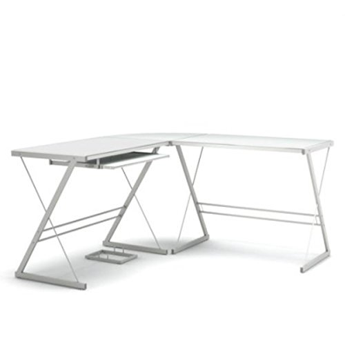 (Gibson Living Madison L-Shaped Computer Desk in White)